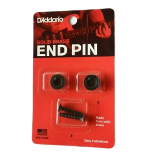 D'Addario Solid Brass End Pins - Black (Pair)